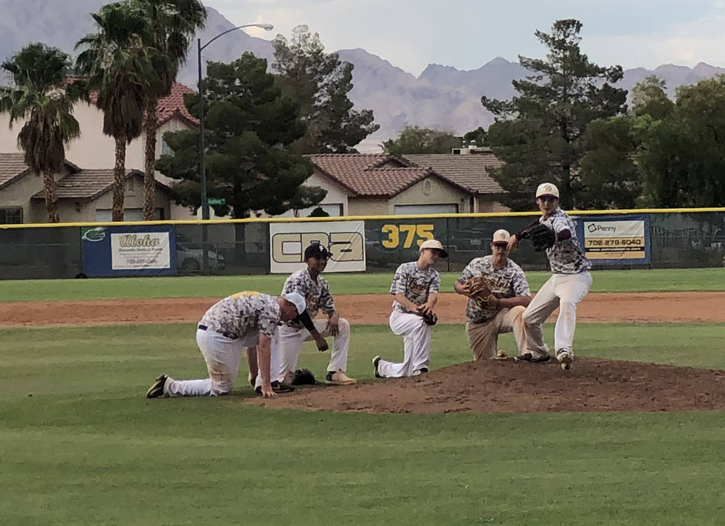 Tom Rysinski/Pahrump Valley Times From left, Pahrump infielders Leo Finkler, Fidel Betancourt, ...