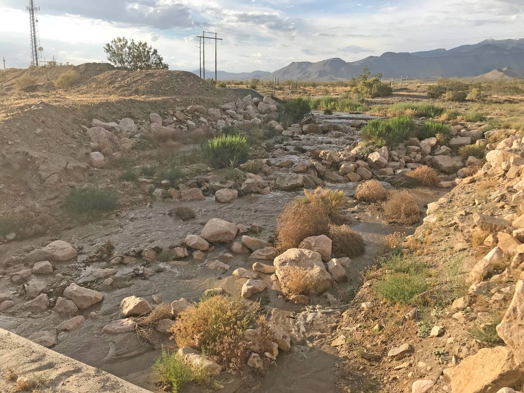 Terri Meehan/Special to the Pahrump Valley Times Water flows in what locals to Pahrump call the ...