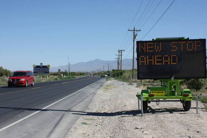 Robin Hebrock/Pahrump Valley Times New stops signs are going up around town, with notifications ...