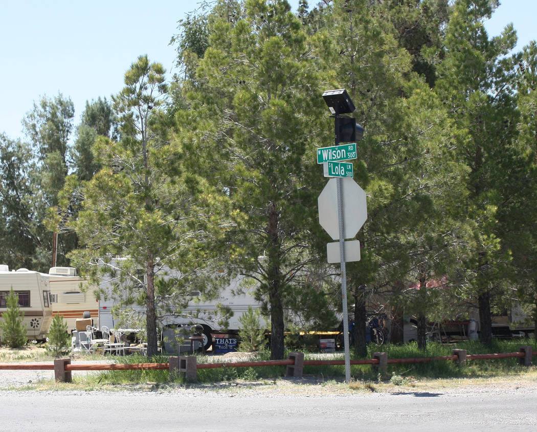 Robin Hebrock/Pahrump Valley Times Wilson Road and Lola Lane is another intersection where Nye ...