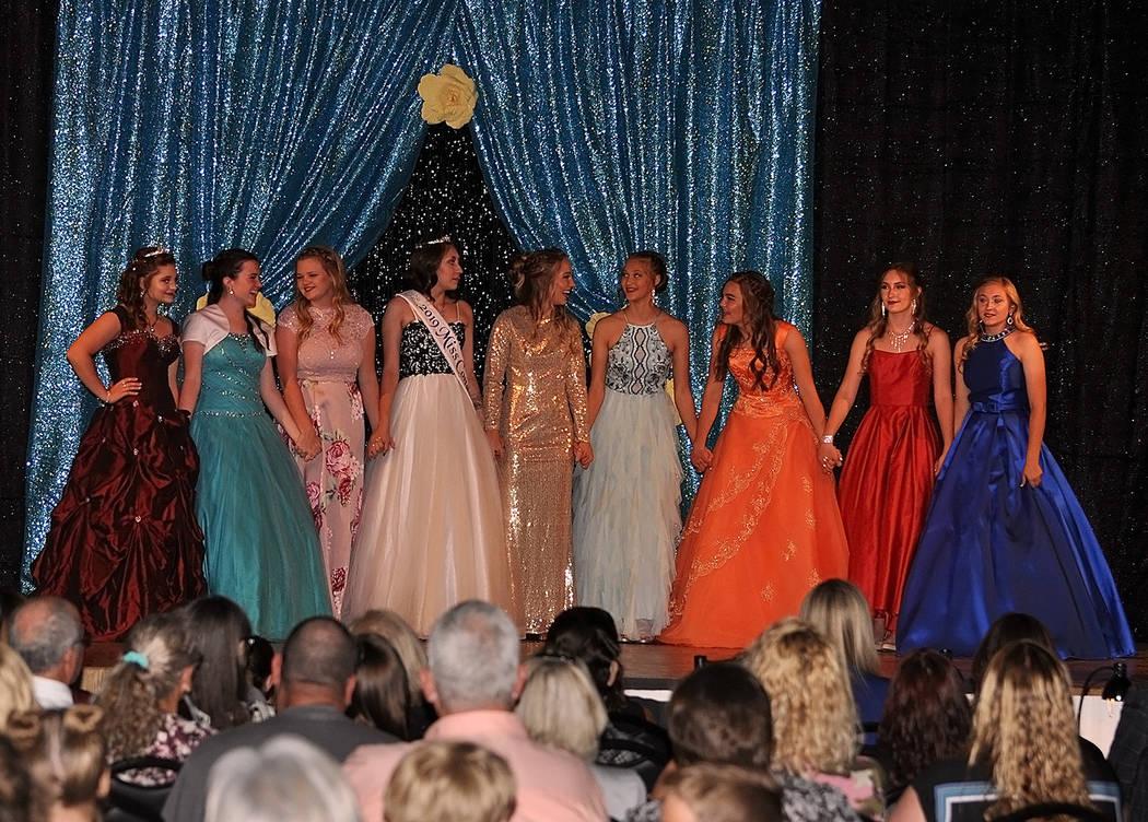 Horace Langford Jr./Pahrump Valley Times The nine Miss Pahrump contestants await the winning a ...