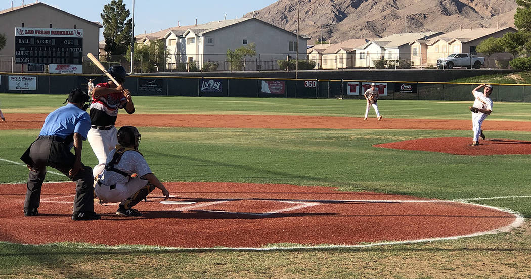 Tom Rysinski/Pahrump Valley Times Pahrump pitcher Jake Riding delivers to a Las Vegas Cats hitt ...
