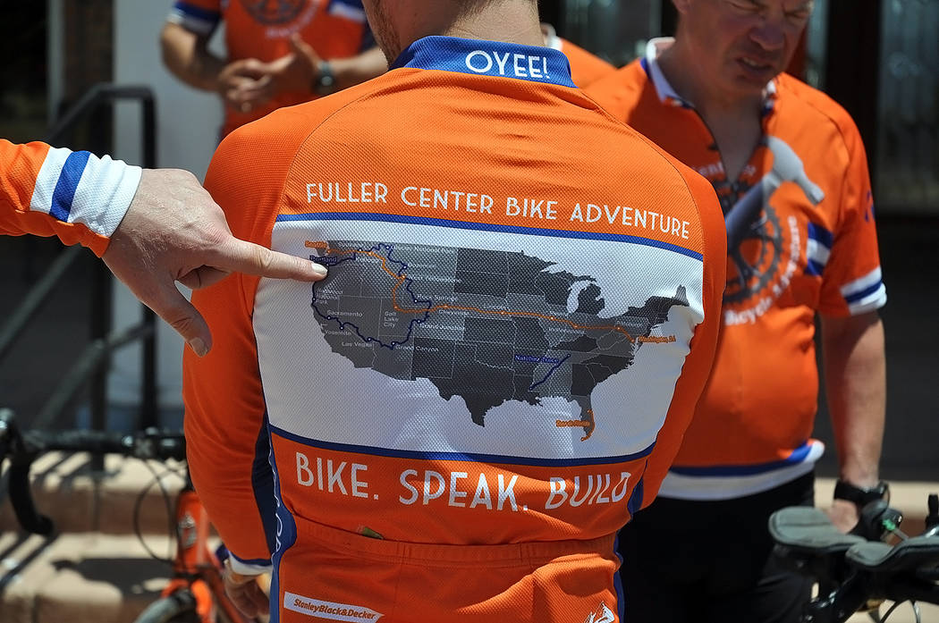 Horace Langford Jr./Pahrump Valley Times Fuller Center Bike Adventure riders display their rout ...