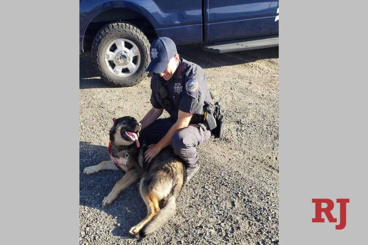 Nevada Highway Patrol Trooper Jeff Freeman and his newly adopted dog, Chief. (Nevada Highway Pa ...