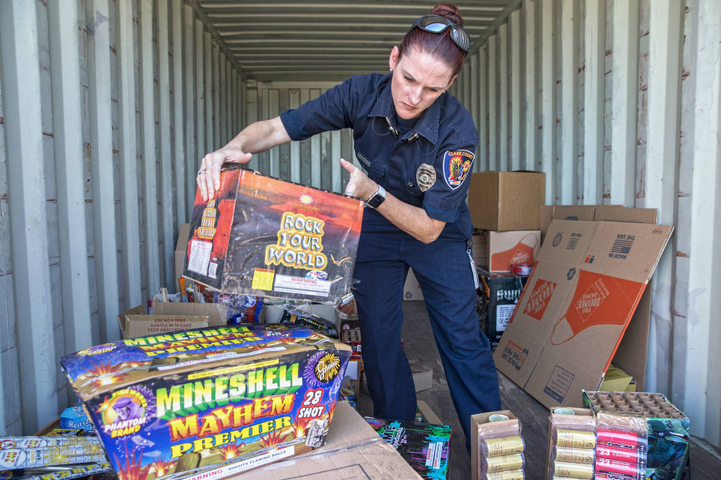 Benjamin Hager/Las Vegas Review-Journal Amanda Wildermuth, with Clark County Fire Prevention, o ...