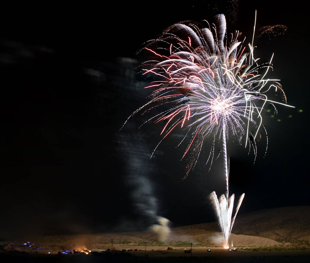 Richard Stephens/Special to the Pahrump Valley Times This file photo shows fireworks launched i ...