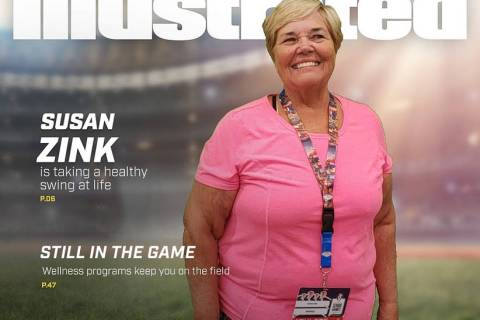 Special to the Pahrump Valley Times Susan Zink of Pahrump poses for a mock Sports Illustrated c ...