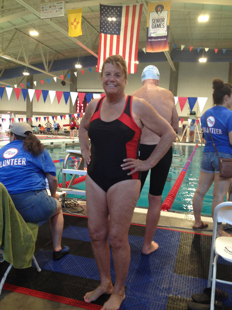Special to the Pahrump Valley Times Cathy Behrens stands ready to swim the 50-meter freestyle a ...