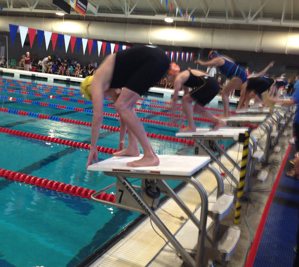 Special to the Pahrump Valley Times Swimmers take their marks during the National Senior Games ...