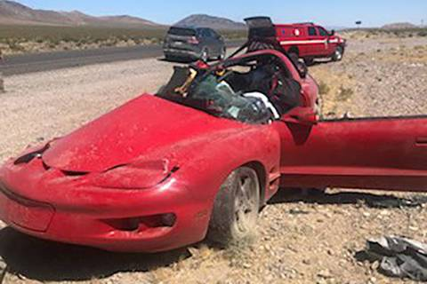Nevada Highway Patrol A look at one of the vehicles involved in a fatal crash Monday along U.S. ...