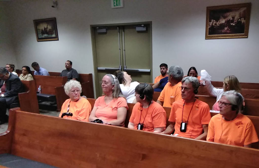 Selwyn Harris/Pahrump Valley Times Family and friends of Christina Weir wore orange shirts and ...