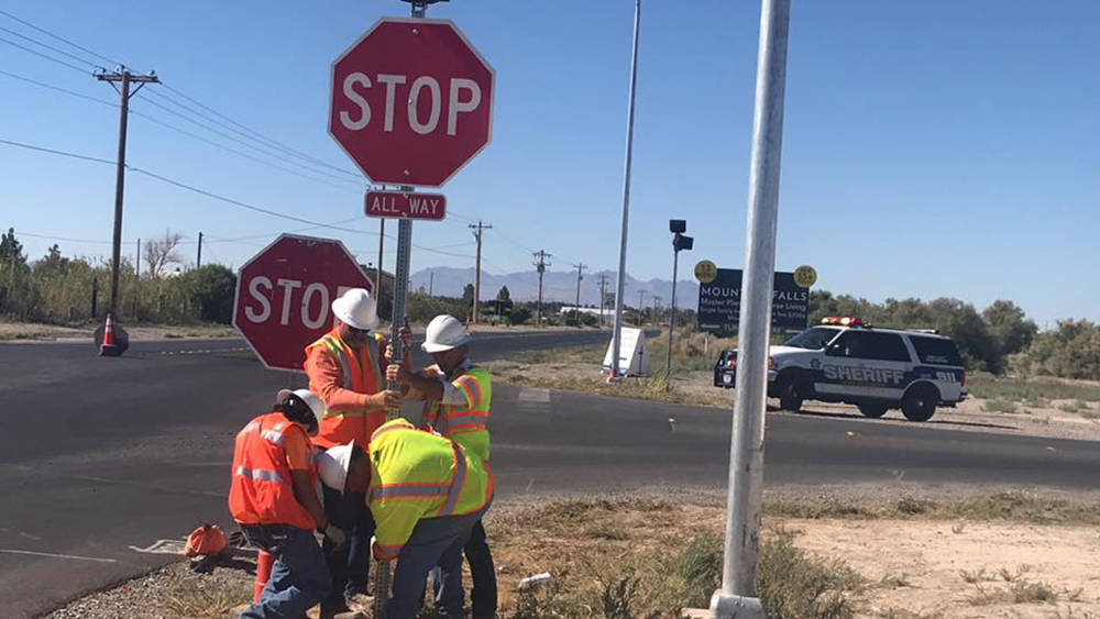 Special to the Pahrump Valley Times Provided by Nye County, this photo shows road crews erectin ...