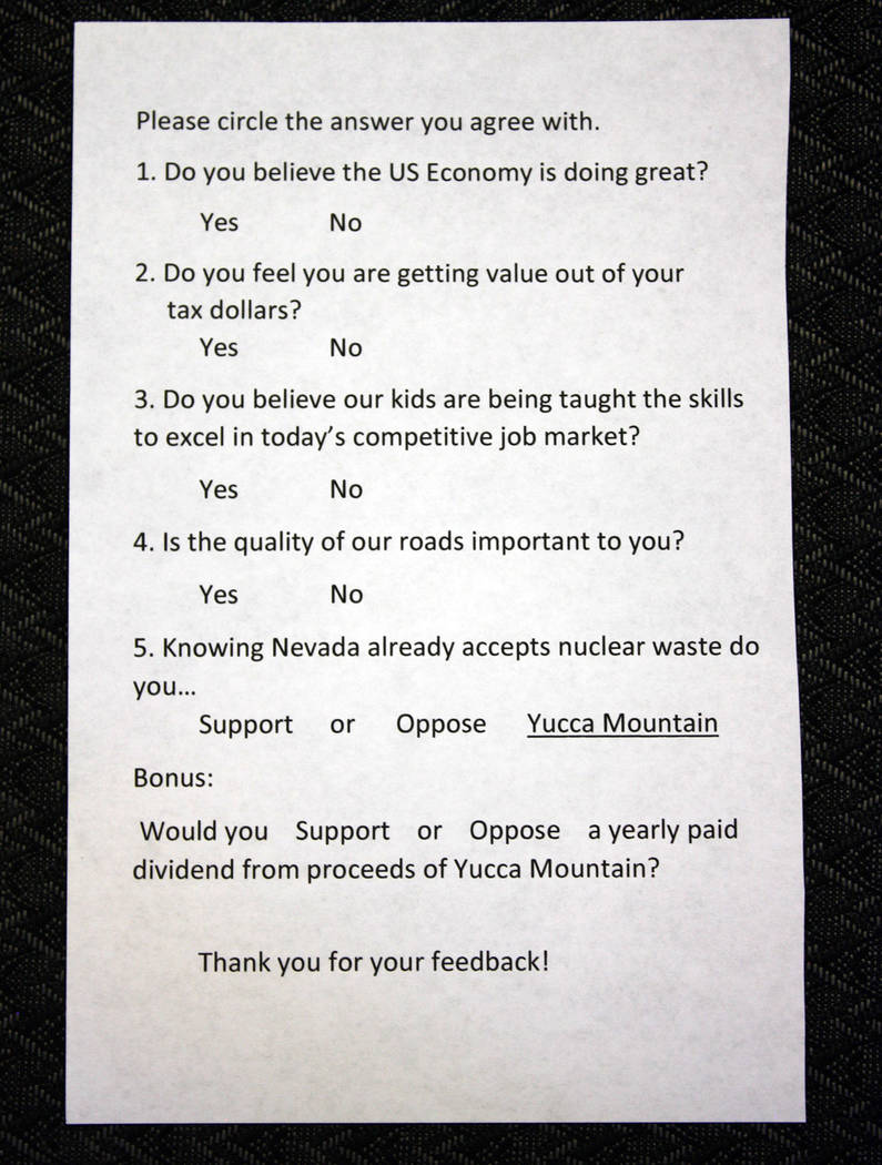 Robin Hebrock/Pahrump Valley Times To help gauge local opinion, a survey was handed out to all ...