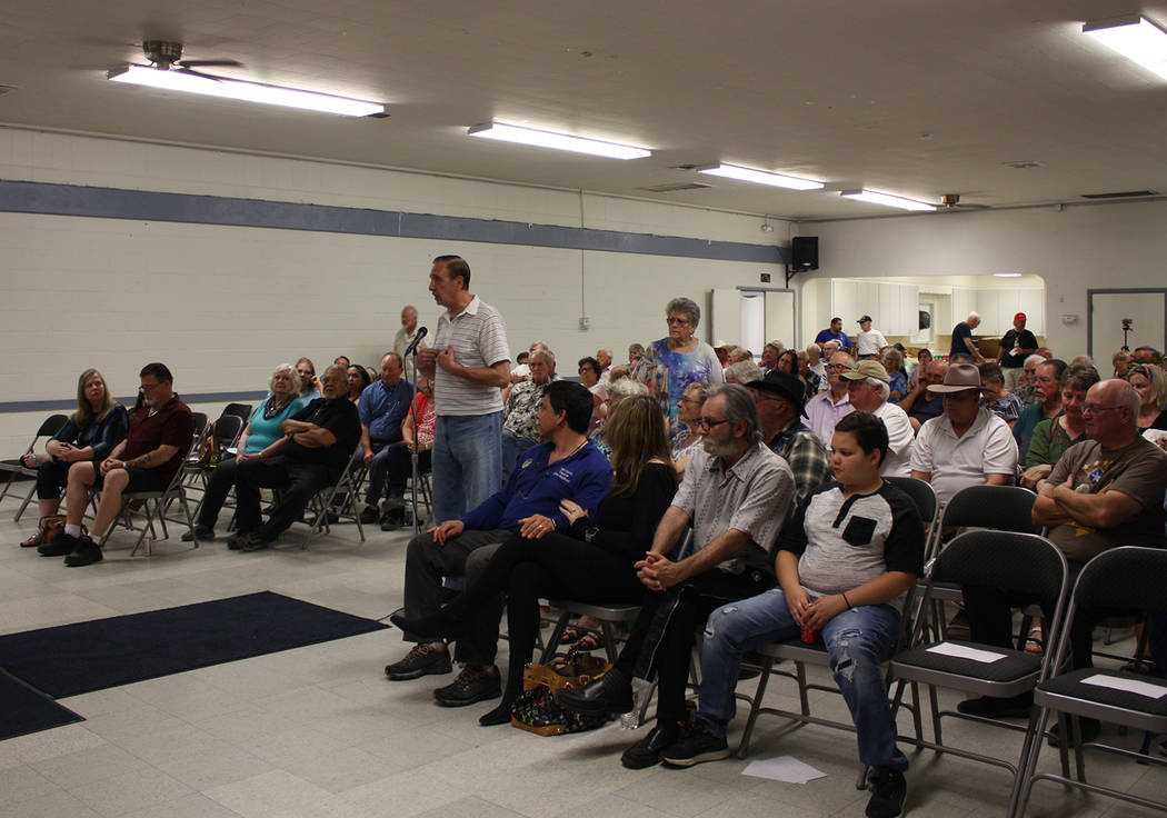 Robin Hebrock/Pahrump Valley Times Area residents are shown posing questions to Nye County Comm ...