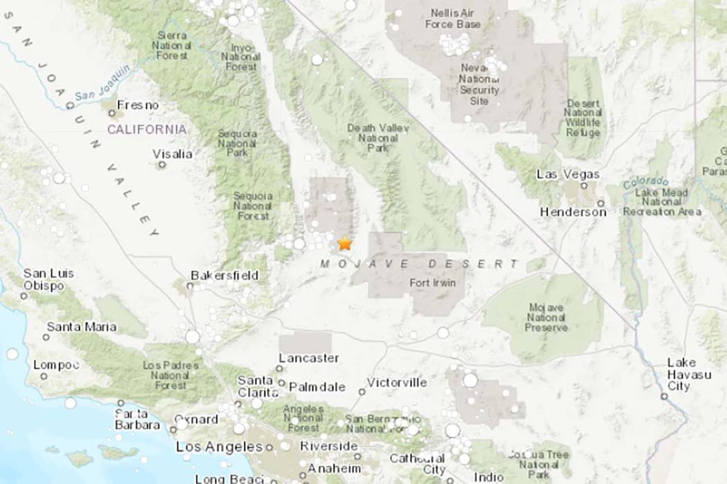 A U.S. Geological Survey map shows the location of Ridgecrest, California, which was the epicen ...