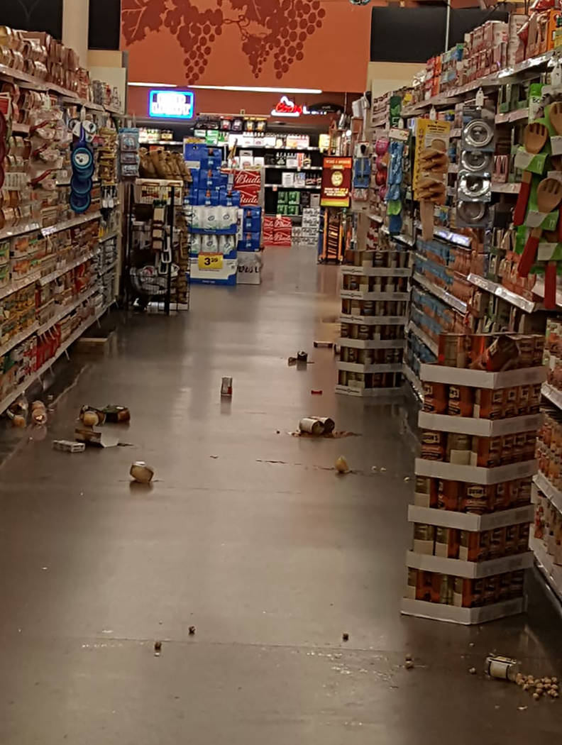Kathy Jozwick Beyer/Special to the Pahrump Valley Times Items knocked off shelving at Smith's g ...