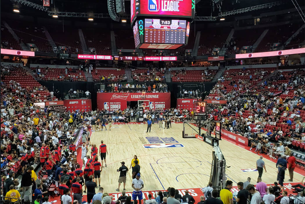 A Vegas Summer League game is postponed after an earthquake hit Las Vegas on Friday, July 5, 20 ...
