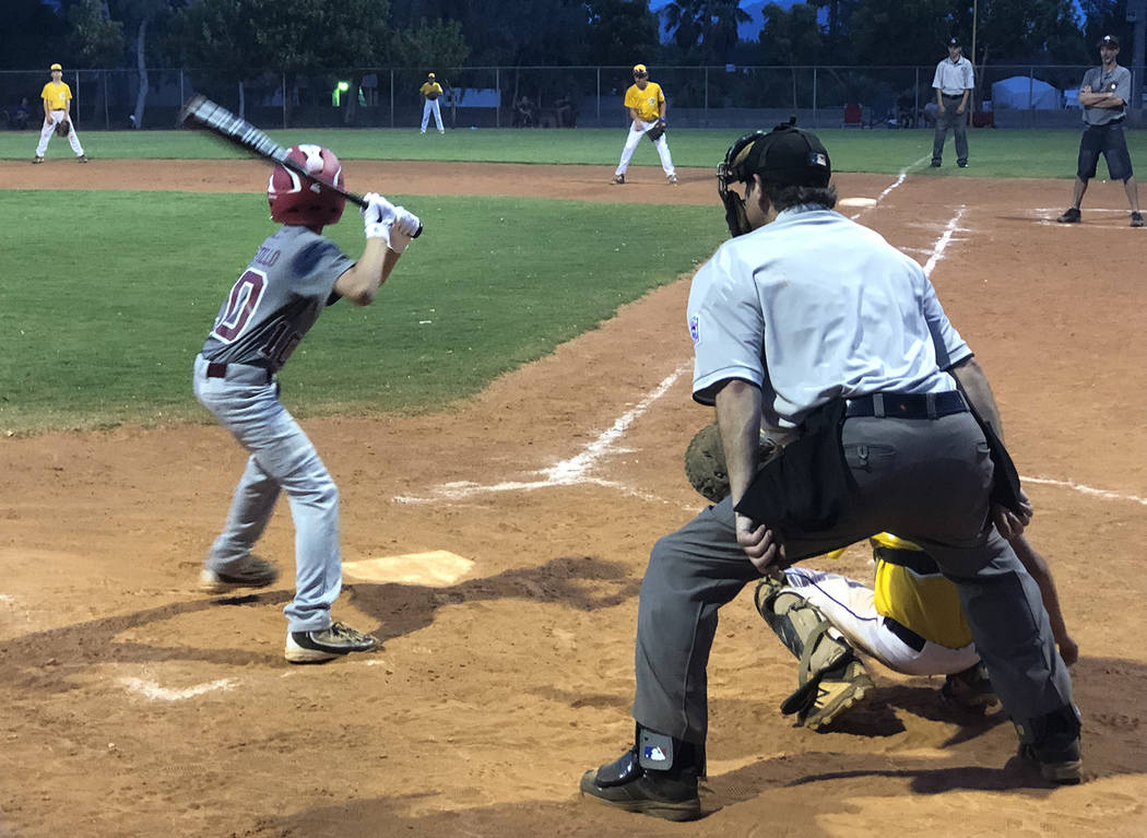 Tom Rysinski/Pahrump Valley Times Aaron Castillo steps into the batter's box during Pahrump Val ...