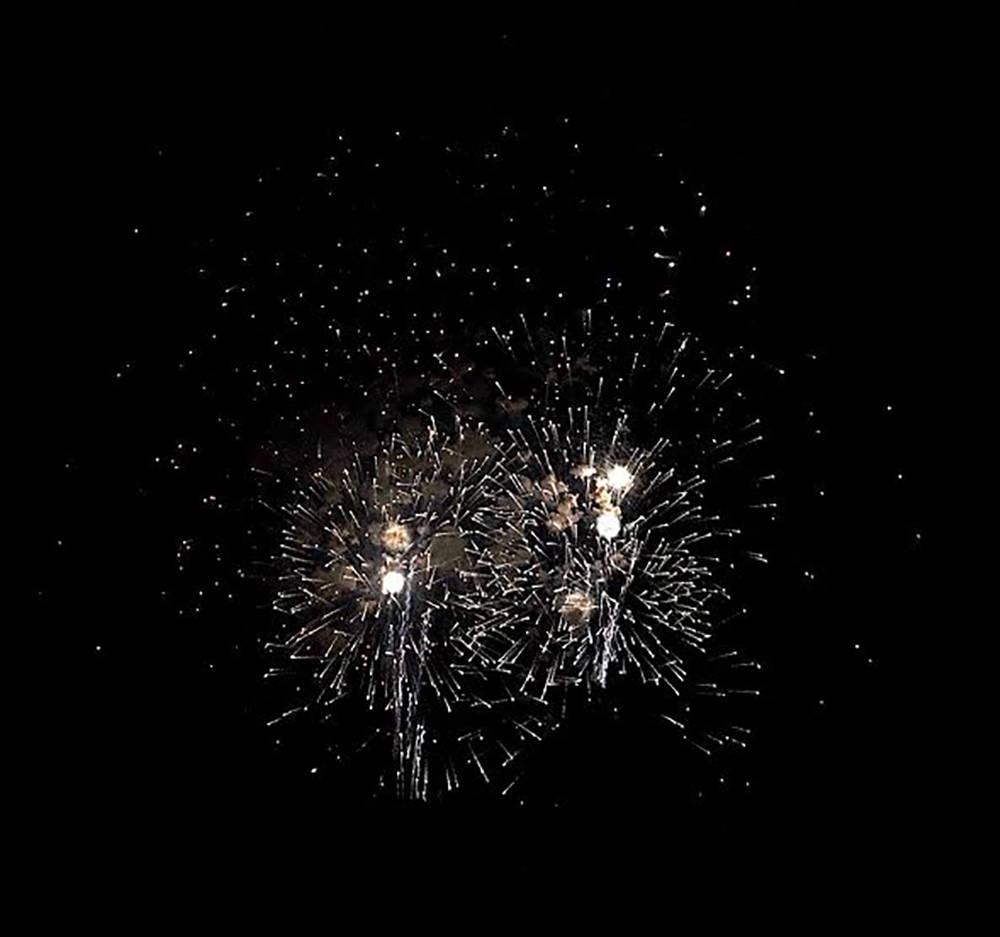 Horace Langford Jr./Pahrump Valley Times Fireworks shimmer against the black backdrop of a comp ...