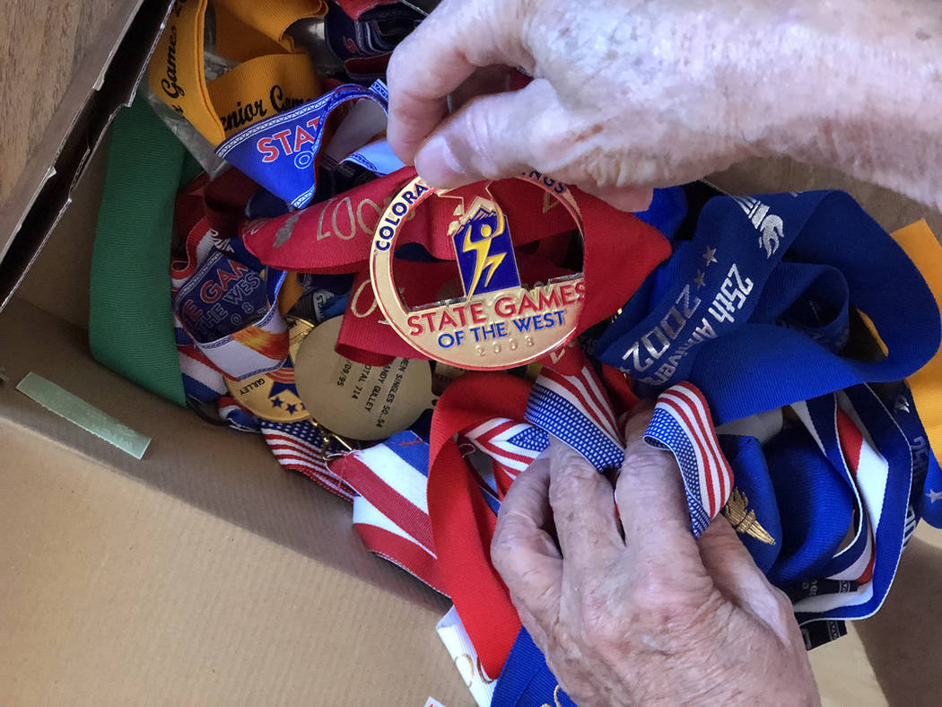 Tom Rysinski/Pahrump Valley Times Randy Gulley of Pahrump estimates he has won roughly 60 medal ...