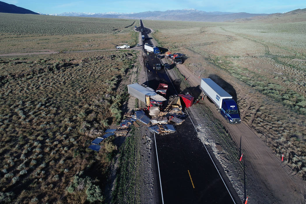 Nevada Highway Patrol Due to the extent of the debris, U.S. 6 was closed for an extended period ...