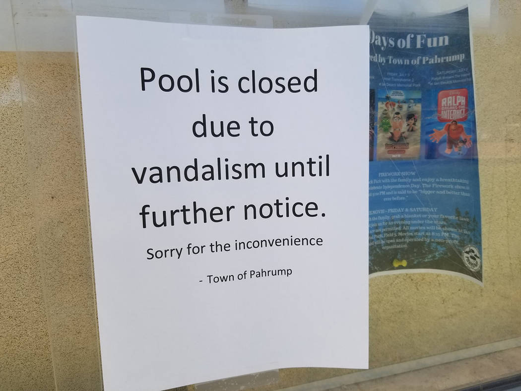 David Jacobs/Pahrump Valley Times This flyer announcing the pool's closure was posted on July 4 ...