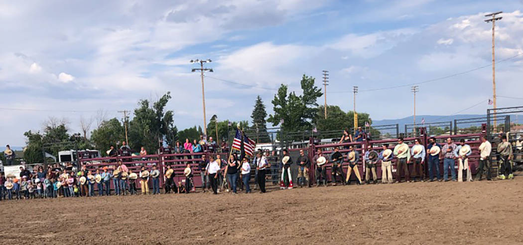 Special to the Times-Bonanza Contestants line up to take part in a Souza's Bucking Bulls rodeo ...