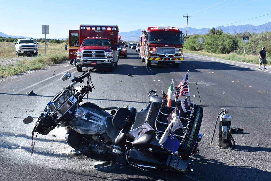 Special to the Pahrump Valley Times A two-vehicle crash involving a motorcycle and truck at the ...