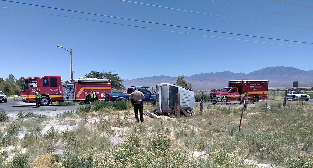 Selwyn Harris/Pahrump Valley Times No serious injuries were reported following a two-vehicle cr ...