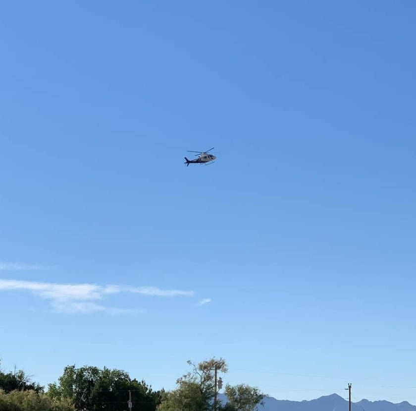 Iggy Magaña/Special to the Pahrump Valley Times A medical helicopter gets ready to land in Pah ...