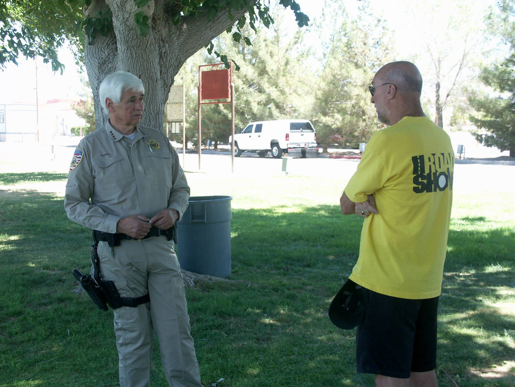 Selwyn Harris/Pahrump Valley Times In this 2014 photo, Nye County Sheriff Tony DeMeo (left) is ...