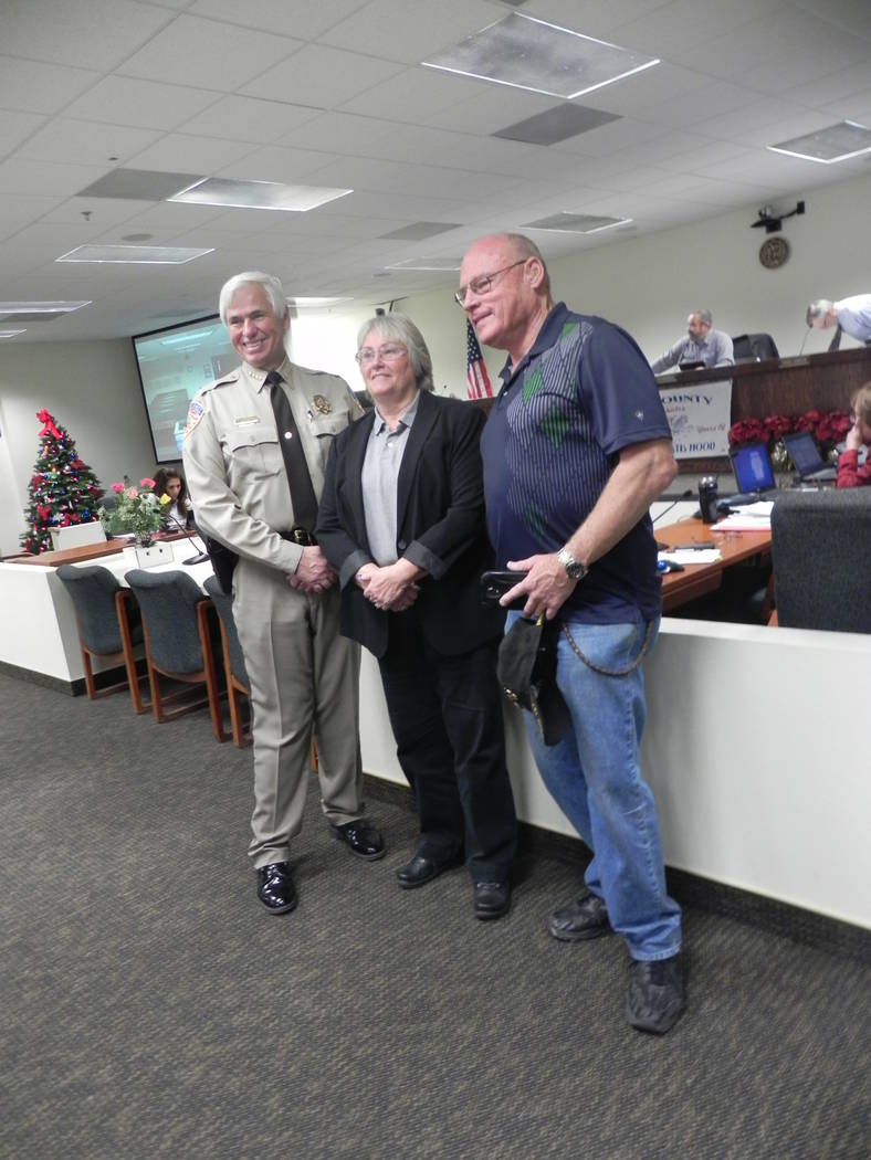 Mark Waite/Pahrump Valley Times This 2014 file photo shows outgoing sheriff Tony DeMeo, at lef ...