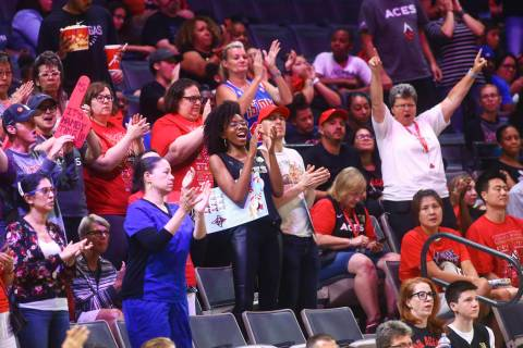 Chase Stevens/Las Vegas Review-Journal Las Vegas Aces fans cheer during the second half of a WN ...