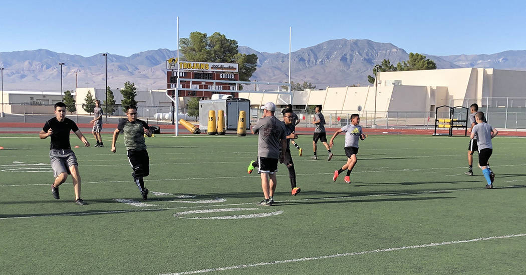 Tom Rysinski/Pahrump Valley Times Pahrump Valley High School boys soccer coach Chris Roberts wa ...