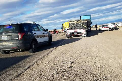 David Jacobs/Pahrump Valley Times The scene of a crash along U.S. Highway 95/6 in rural Nevada ...