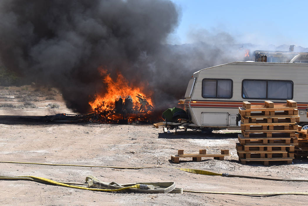 Special to the Pahrump Valley Times Fire crews were summoned to the 4000 block of West Venus St ...