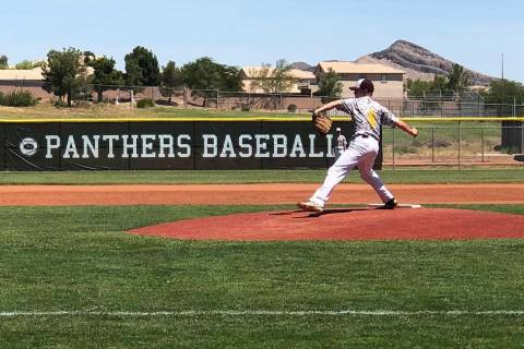 Tom Rysinski/Pahrump Valley Times James Metscher delivers a pitch Wednesday for the Pahrump Tro ...