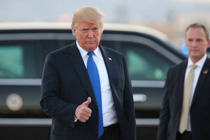 Richard Brian/Las Vegas Review-JournalPresident Donald Trump arrives at McCarran International ...