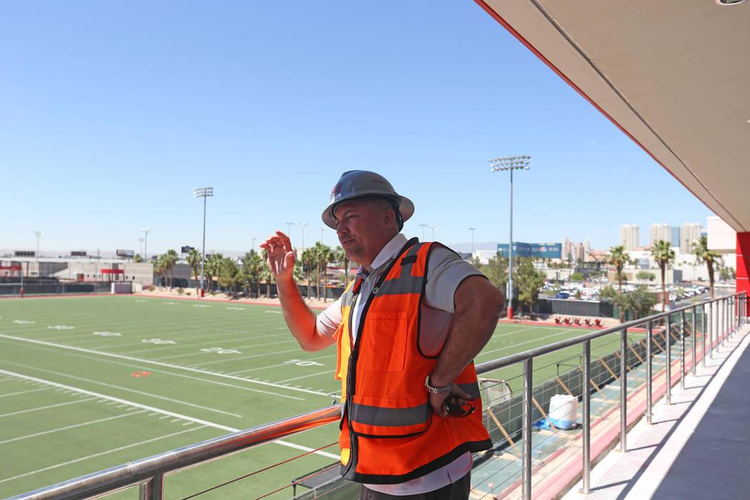 Rachel Aston/Las Vegas Review-Journal UNLV football coach Tony Sanchez leads a tour of the new ...
