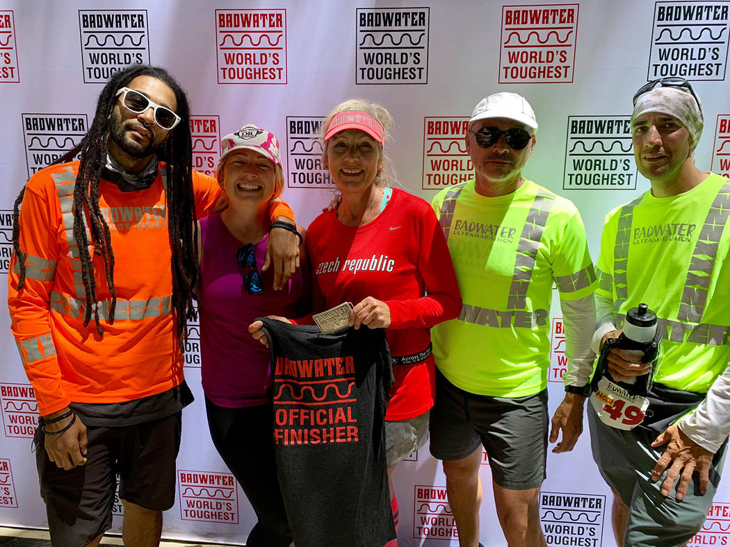 Special to the Pahrump Valley Times Karla Kent, center, with the team that helped her finish th ...