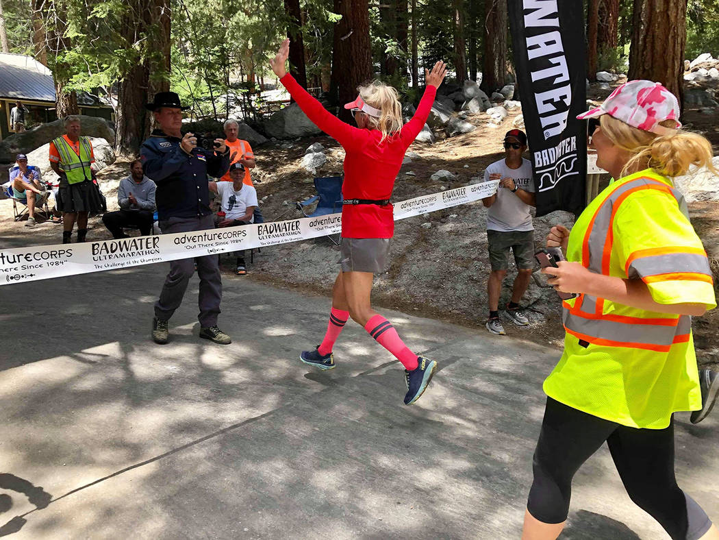Kerstin Kent/Special to the Pahrump Valley Times Karla Kent of Las Vegas reaches the finish lin ...
