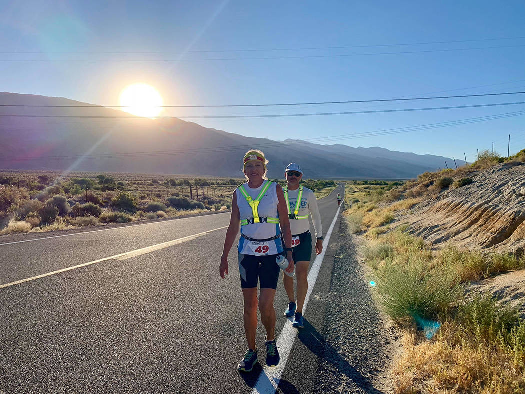 Special to the Pahrump Valley Times Karla Kent is joined by crew member Gerald Godoy during a s ...
