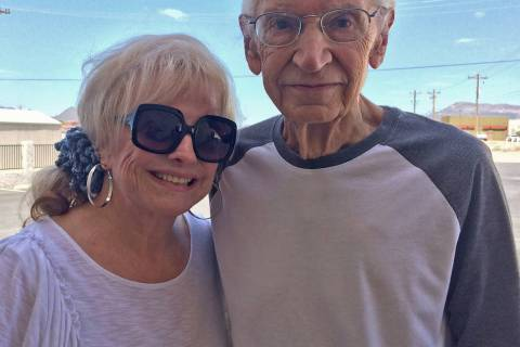 Robin Hebrock/Pahrump Valley Times Joetta Walsh and Pete Giordano pose for a photo following Wa ...