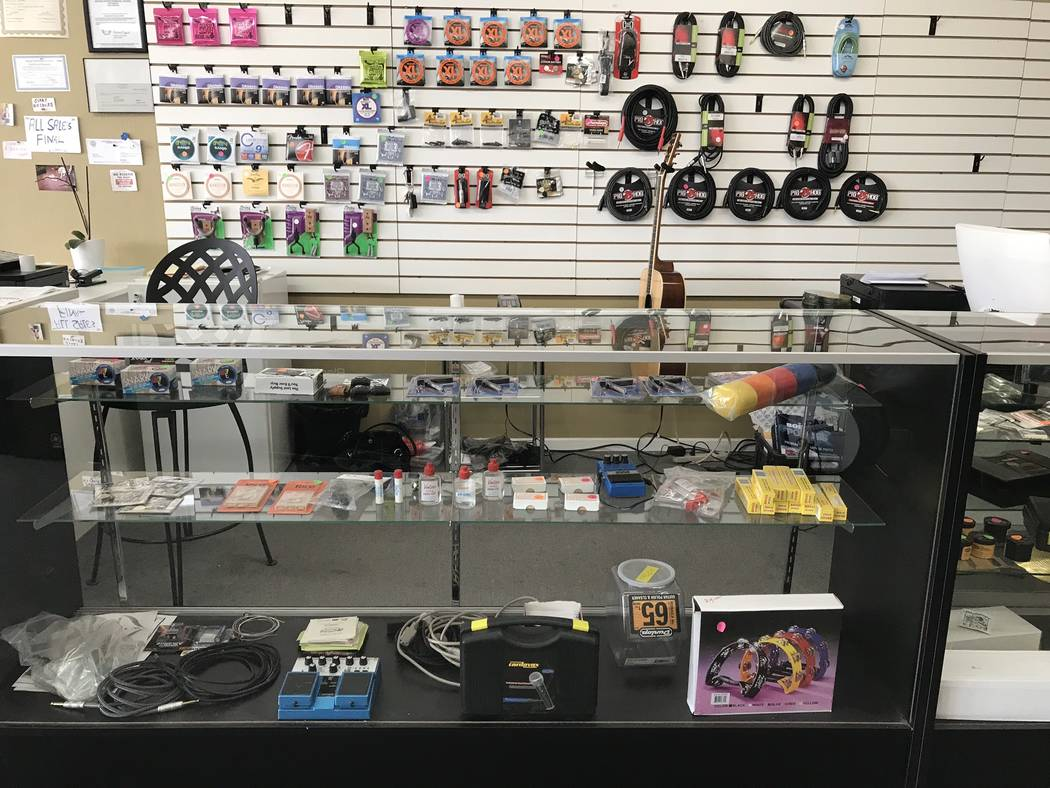 Jeffrey Meehan/Pahrump Valley Times Foxter Music sells guitars, amps, music accessories and oth ...