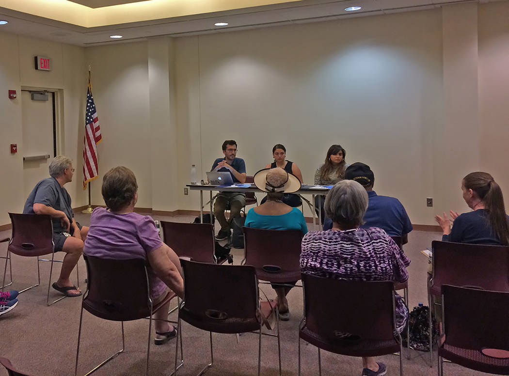 Robin Hebrock/Pahrump Valley Times Pahrump residents are shown discussing local concerns with m ...