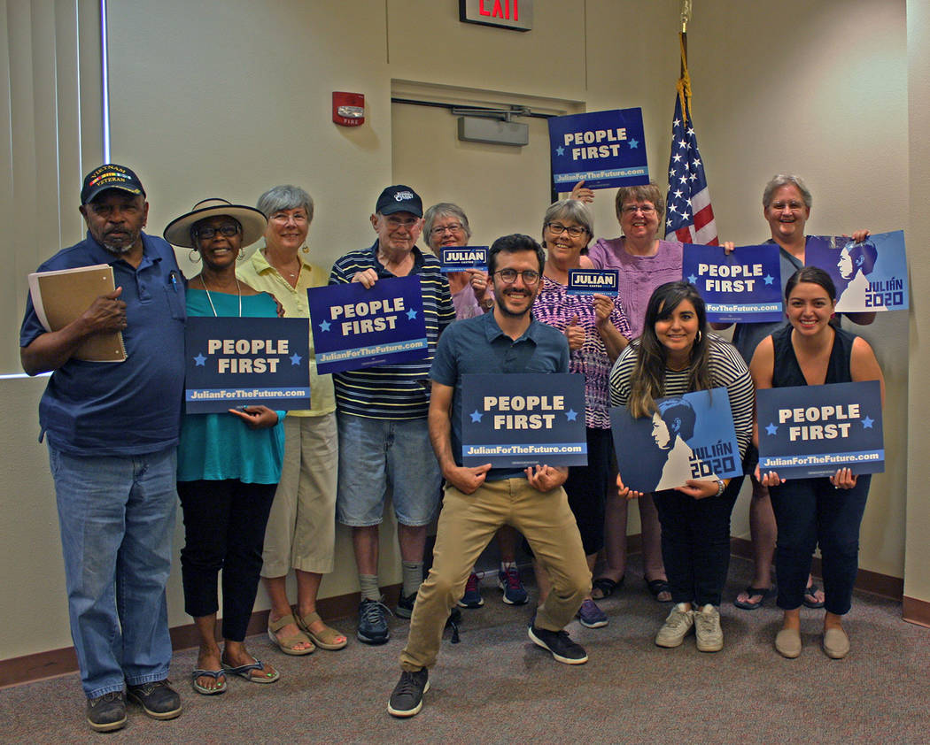Robin Hebrock/Pahrump Valley Times Staff members for Presidential candidate Julian Castro's Nev ...