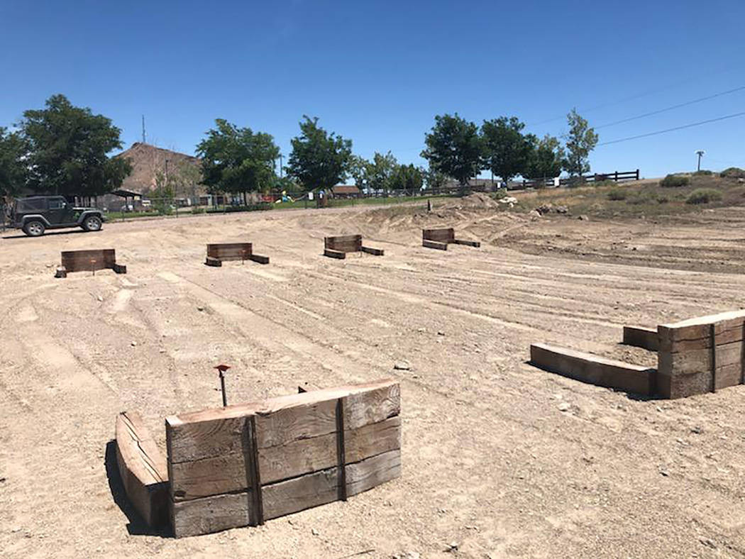 Lathan Dilger/Special to the Pahrump Valley Times New horseshoes pits take shape at Goldfield P ...