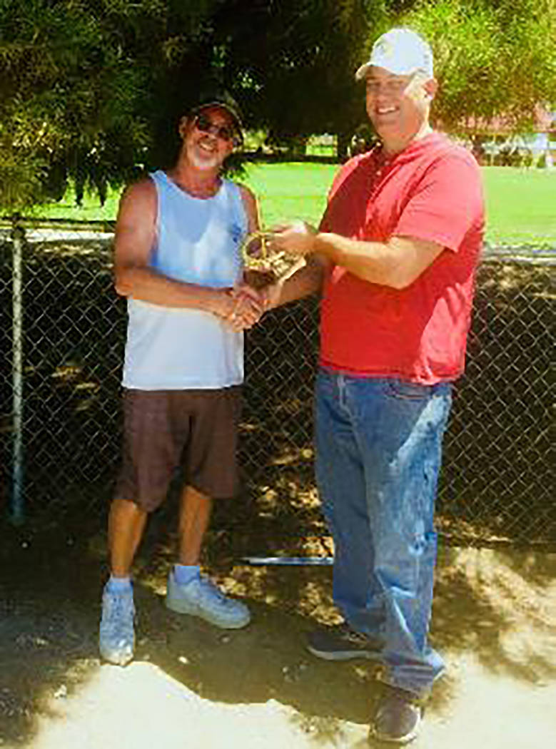 Lathan Dilger/Special to the Pahrump Valley Times Mark Kaczmarek, left, of Pahrump is congratul ...