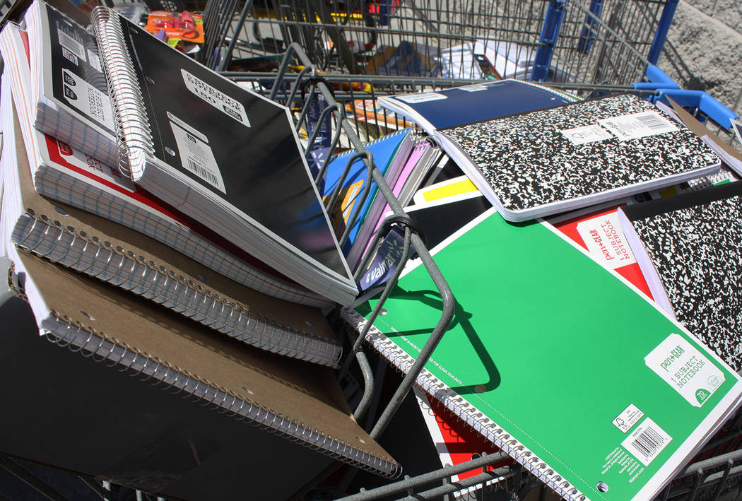 Robin Hebrock/Pahrump Valley Times Shopping carts were filled with school supplies as volunteer ...