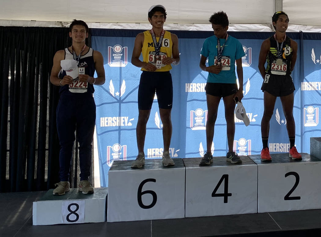 Special to the Pahrump Valley Times Jose Granados, left, on the medal stand after finishing eit ...